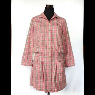pink checkered polo dress
