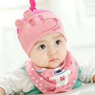 Baby cartoon bonnet & bib