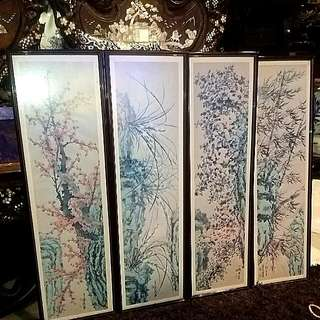 4 Seasons Water Color Printing Like Art With Frame Vintage