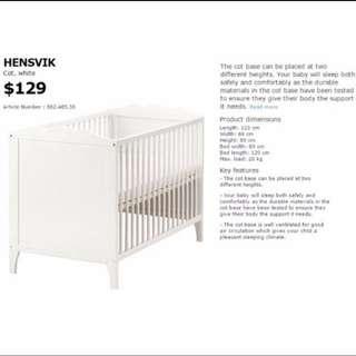 IKEA Hensvik Baby Cot (FREE bedding bumper + mosquito net)