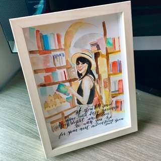 13cm x 18cm Watercolour with quote - comes framed