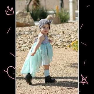 Baby Girl Sleeveless Striped Tulle Dress 🍀