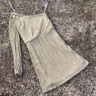 Metallic One-Side Dress