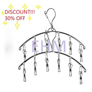 Value Pack - 2 x Stainless Steel Cloth Hanger With 6 Clips ( Discount!!! - 30% OFF )