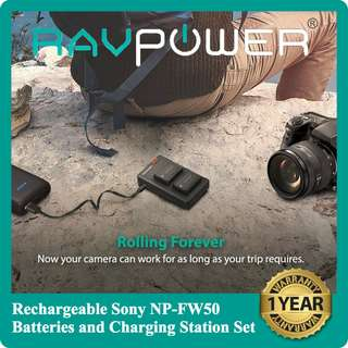 www.gadgetking.asia - RAVPower 2-Pack Rechargeable 1100mAh NP-FW50 Batteries for Sony Cameras