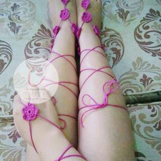 Barefoot Sandals and Hand Anklet Set Crochet