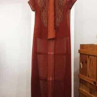Outer dress orange bata