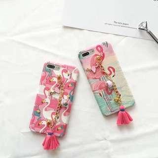 Casing Handphone - Flamingo With Chain Pendant Tassel