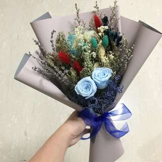 Preserved Blue Roses / Dried Flower Bouquet