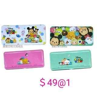 迪士尼 日本 TsumTsum 文具盒 鐵盒錢