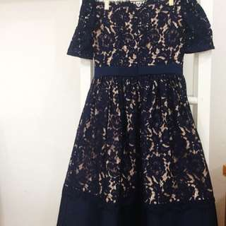 Dress Navy Brokat