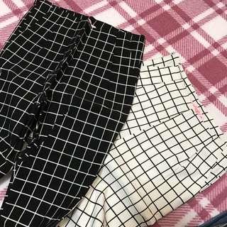 🚚 彈性褲子 格子長褲 👖激瘦褲子 修飾修身百搭格紋褲 AIR SPACE 全新隨便賣