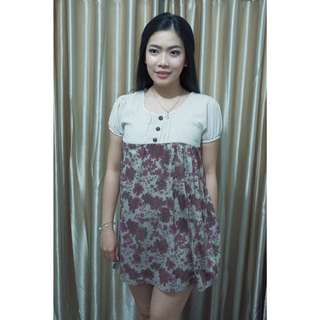 Flower flare dress wanita SIMPLE DRESS