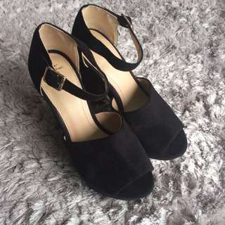 ZARA Black Velvet High Heels