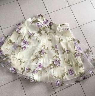 Elegant Purple Roses Mesh Skirt
