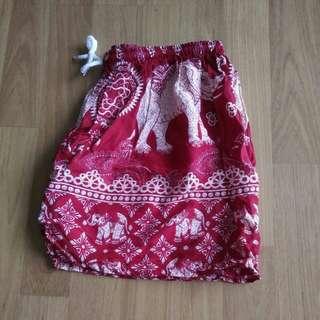 Wine Red Boho Elephant Shorts #under90