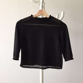 ZARA crop mesh top XS