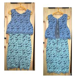藍/綠色 蕾絲連身裙 blue/green lace two tone midi dress 9成新 90%new