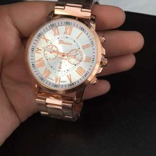 Rose Gold Metal Banded Watch with roman numerals