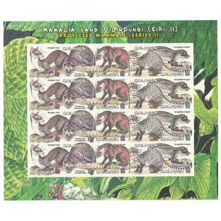 Malaysia 2000 Protected Mammals of Malaysia (2nd Series) sheetlet of 20V imperforated (slightly distorted bottom edge) Mint MNH SG #927-931