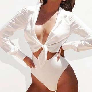 White Silky Blouse Bodysuit