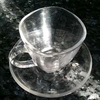 花茶透明玻璃杯連透明玻璃碟