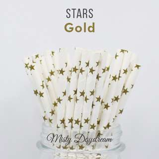 25pc GOLD STARS Straws