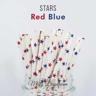 25pc RED BLUE STARS Straws
