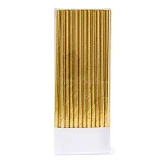 25pc Metallic Foil Straws – Gold