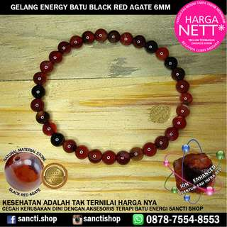 GELANG ENERGY BATU BLACK RED AGATE 6MM