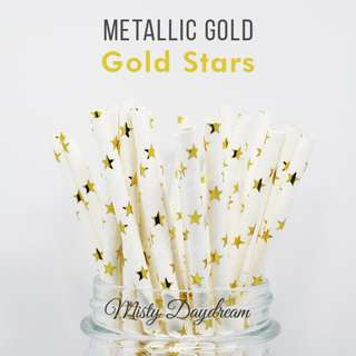 25pc STARS Gold Foiled Straws