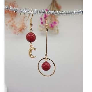 現貨簡約不對稱月亮耳墜幾何圓形耳飾紅色瑪瑙耳環