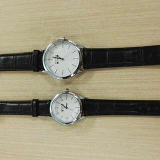Newyork Army NYA251 Leather Strap Couple Watch - Black/White Dial