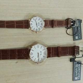 Newyork Army NYA252 Rosegold Case Couple Watch - Brown/White Dial