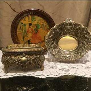 Ornate Silver Dish and Jewellery Box
