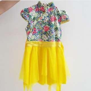 Preloved Dress Kuning Cheongsam