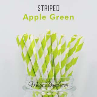 25pc APPLE GREEN Striped Straws