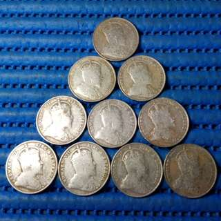 1910 Straits Settlements 20 Cents Silver Coin (Price Per Piece)