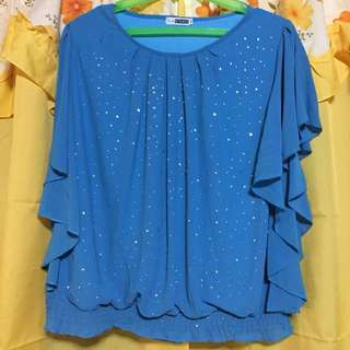 Aqua green chiffon top XXXL