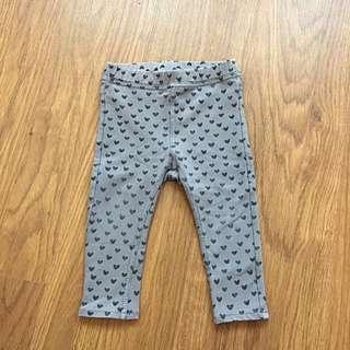 H&M Heart Printed Leggings - Grey