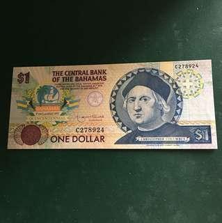 巴哈馬早期紙鈔,全新直版,#107