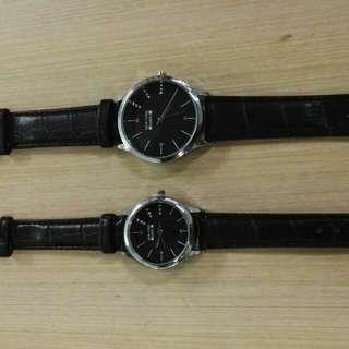 Newyork Army NYA251 Leathe Strap Couple Watch - Black/Black Dial