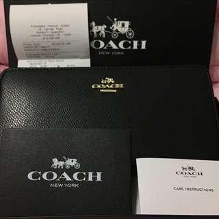 🚚 正品Coach 52372 壓花荔枝紋皮革拉鍊手風琴長夾 黑色