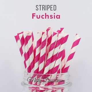 25pc FUCHSIA Striped Straws