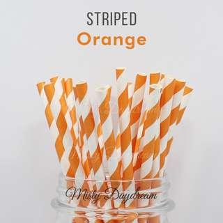 25pc ORANGE Striped Straws