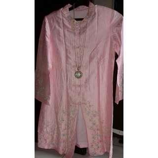 Atasan tunik pink full payet cantik UK M (no deffect)