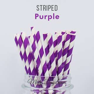 25pc PURPLE Striped Straws