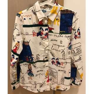 Korean Fashion - Children Drawing Print Shirt