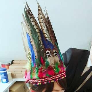 Feather headpiece party hairpiece handmade 羽毛頭飾 Boho Indian preppy