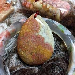 精品楓葉🍁紋彩色珊瑚玉吊墜